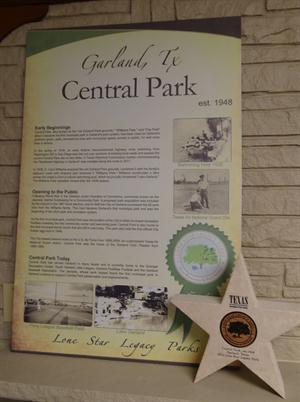 Central Park Lone Star Legacy Park Information Sign